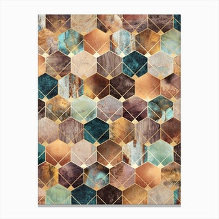 Natural Hexagons And Diamonds Canvas Print