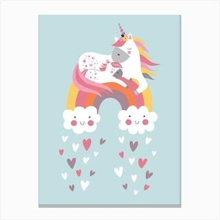 Unicorn And Rainbow In Blue Canvas Print