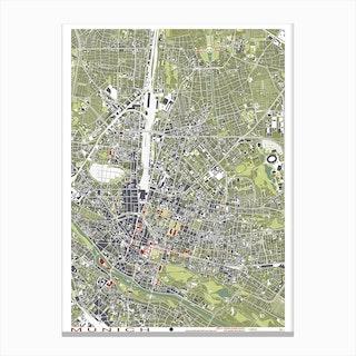 Munich Engraving Map Canvas Print
