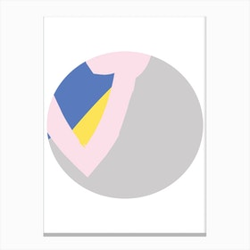 Abstract Grey Circle with Pink Canvas Print