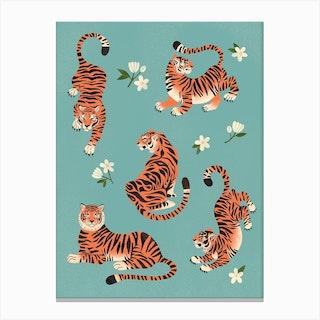 Fierce Tigers In Blue Canvas Print