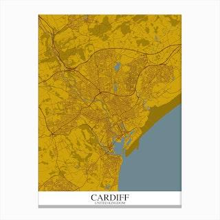 Cardiff Yellow Blue Map Canvas Print