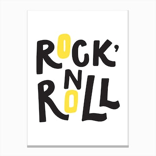 Rock and roll black AND YELLOW Canvas Print