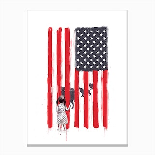 Little Girl And Wolves Canvas Print