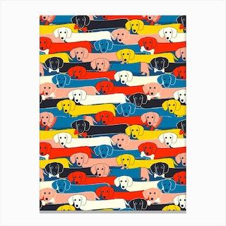 Dachshund Pattern Canvas Print