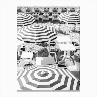 Black White Umbrella Stripes Canvas Print