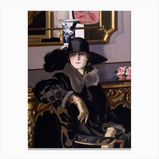 A Lady In Black Canvas Print