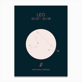 Leo Star Sign In Dark Canvas Print