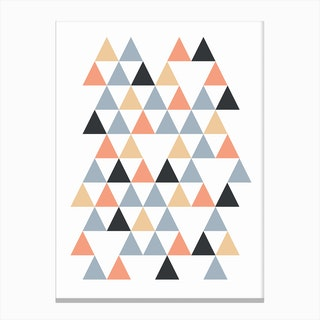 Scandi Triangles Peach Canvas Print