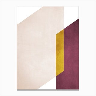 Intersection Of Shapes Marsala And Yellow Canvas Print