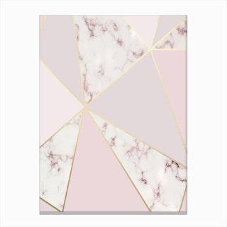 Rose Gold Baby Pink with Marble Abstract Shapes Canvas Print