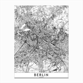 Berlin White Map  I Canvas Print