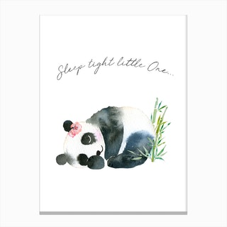 Sleep Tight Little One Panda Pink Canvas Print