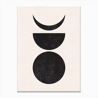 Moon Phase Abstract Block Print 2 Canvas Print