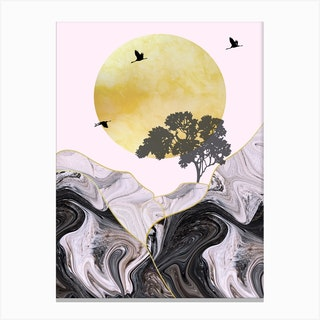 Gold Sun With Birds & Tree Mountain Abstract Canvas Print