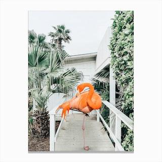 Flamingo Beach House Canvas Print