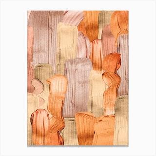 Copper Acrylic Brush Strokes Canvas Print