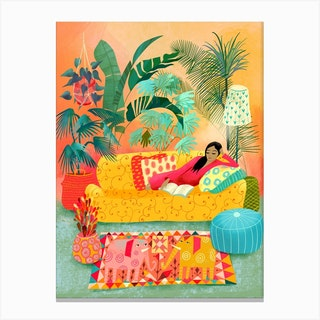 Woman Reading In Tropical Living Room Canvas Print