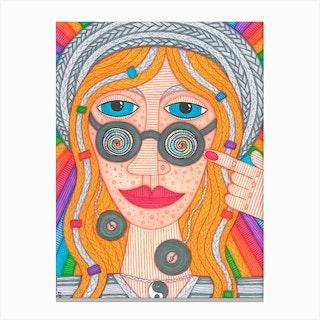 Rainbow Hippy Girl Canvas Print