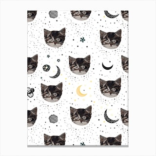 Cute Cats And Space Pattern Canvas Print