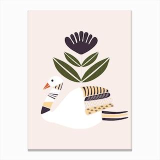 Folkie Swan Canvas Print