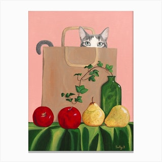 Cat In Paperbag With Apples And Pears Canvas Print