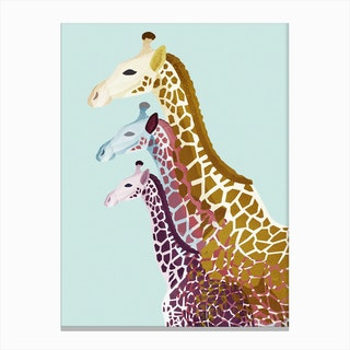 Giraffes in Mint Canvas Print