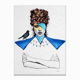 Blue Girl Black Bird Canvas Print