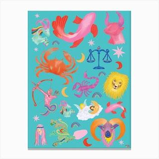 Zodiac Symbols Canvas Print