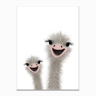 Ostrich Nursery Art 2  Portrait Canvas Print