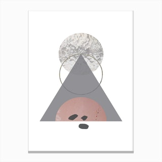 Triangle Peach Sand and Glass Abstract Canvas Print