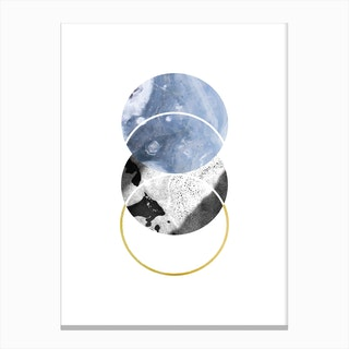 Three Marble Blue Circle Abstract Canvas Print