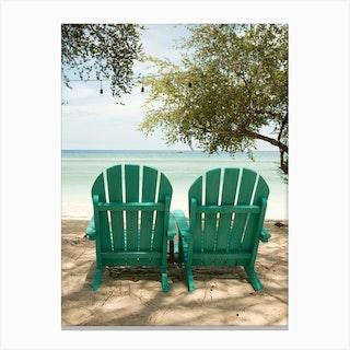 Bali Beach Chairs Canvas Print