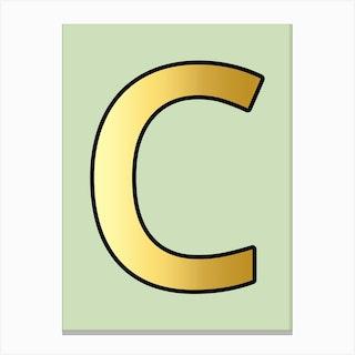 Letter C Gold Alphabet Aqua Canvas Print
