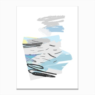 Abstract Blue and Grey Scribble Shapes Canvas Print