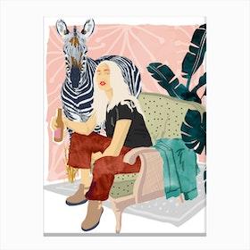 Zebra Hangout Canvas Print