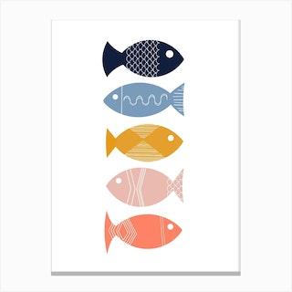 Scandi Mid Mod Fish Canvas Print