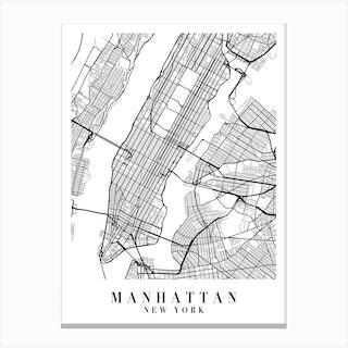 Manhattan New York Street Map Minimal Canvas Print