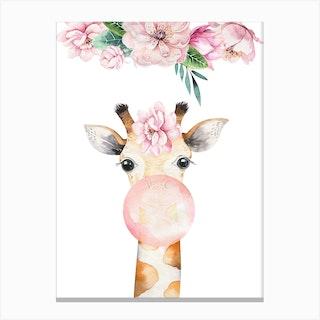 Floral Giraffe Blow Gum Canvas Print