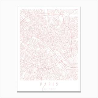 Paris France Light Pink Minimal Street Map Canvas Print