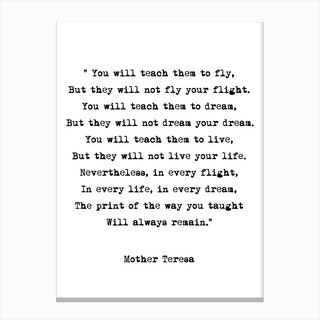 Dream   Mother Theresa Quote Canvas Print