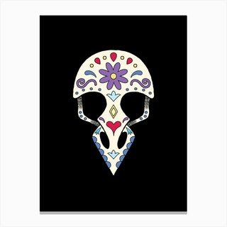 Bird Sugar Skull Canvas Print