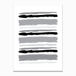 Black and Grey Abstract Stripes Canvas Print