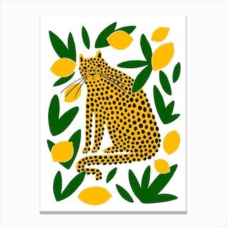 Lemon Leopard Canvas Print