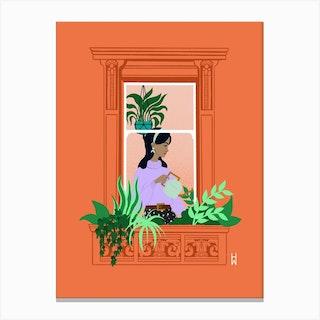 Watering Window Canvas Print