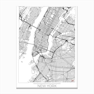 New York Map Minimal Canvas Print