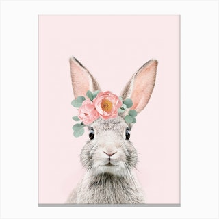 Flower Crown Bunny Pink Canvas Print