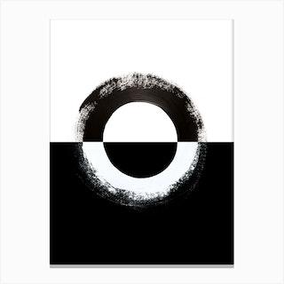 Split Circle Black Abstract Canvas Print