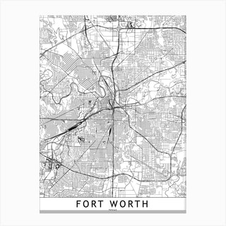 Fort Worth White Map Canvas Print