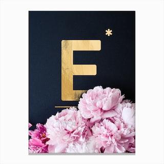 Flower Alphabet E Canvas Print